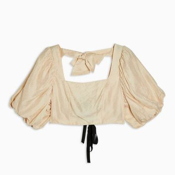 Puff Sleeve Crop Top | Topshop