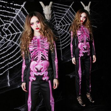 Halloween party Cosplay horror adult Women's Skeleton Costume dress pink black female Sexy Women Club Wear Gothic clothing