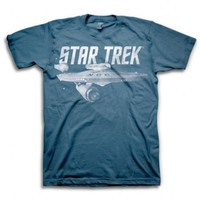 Star Trek  U.S.S. Enterprise NCC-1701 Adult Slate Blue T-Shirt - Star Trek - | TV Store Online