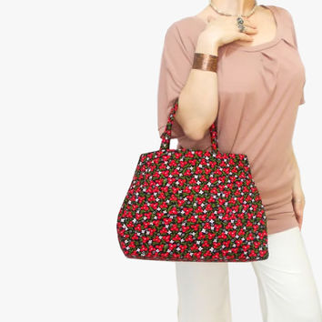 Organic Floral Hobo Bag, Shopping bag, Slouch Purse, Vibrant colors Floral Tote Bag, Red Floral Tote,  Hobo Bag, Shoulder Bag