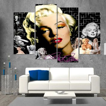 Abstract Wall Canvas Painting Art Frame Poster Wall Modular Pictures 4 Panel Beautiful Girl For Living Room Home Decor YGYT