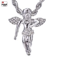 """Jewelry Kay style Men's Fashion Hip Hop Gold Plated Angel 24"""" 4mm Rope Chain Pendant Necklace Set"""