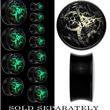 Steampunk Gears Glow in the Dark Saddle Plug in Black Acrylic