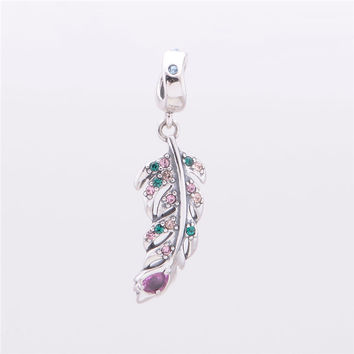 Crystal Angel Feather Pendant Beads Original 925 Sterling Silver Charms Jewelry Fit Pan Bracelet Women NEW Fashion DIY Making