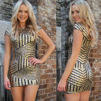 Women Dress Gold Sequined Sexy Backless Bodycon Dress