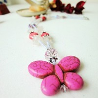 Pink Necklace Howlite Butterfly Rose Quartz Stones Antique Silver | LittleApples - Jewelry on ArtFire