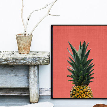 Pineapple Print, Tropical Fruit Wall Art Decor, Colourful, Printable Instant Download, Modern Minimal, Coral Pink, Poster, Large
