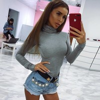 Skinny Long Sleeve Women Bodysuits Autumn Srping Turtleneck Cotton Sexy Bodysuit Solid Stretch Leotard Tops Female Playsuits