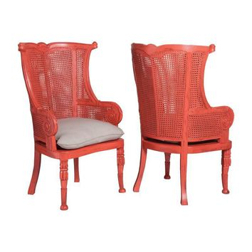 Caned Wing Back Chairs - Set of 2 Red