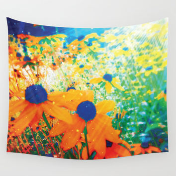 Flowers in the Sun Wall Tapestry by NisseDesigns