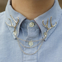 Antique Silver Deer Antler Collar Clip Chain by DapperandSwag