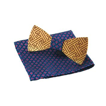 Wood Bow Tie For Men Bowties Neckwear Bowknot Cravats Pocket Square for Wedding Wooden Bow Tie Handkerchief Set
