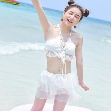 Womens Halter Sexy V-Neck Swimsuits Ruffle High Waisted White Two Piece Bathing Suit Summer Padded Breathable Triangle Beachwear