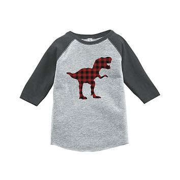 7 ate 9 Apparel Kids Plaid Dinosaur Grey Baseball Tee