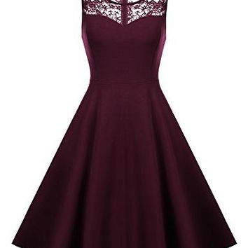Hotouch Women Sleeveless Lace Patchwork Cocktail Party Swing Skater Dress