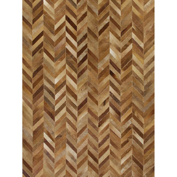 Bashian Rugs Chevron Cowhide Hand-Stitched Rug - Camel