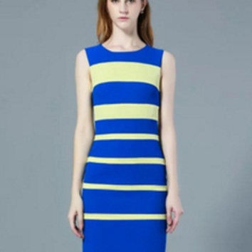 Blue and Yellow Color Block Striped Sleeveless Mini Dress