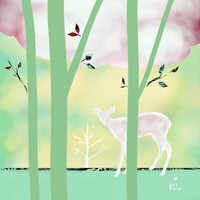 Deer and Sapling Art Prints by Karin Lauria