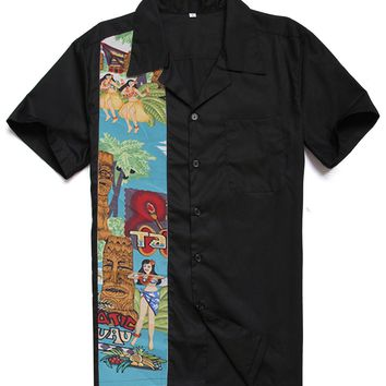New Designs Easter Statue Nude Girls Tiki Printing Male Casual Tops Cotton Rockabilly Vintage 40s 50s Club Plus Size Work Shirts