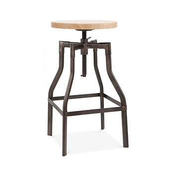 Machinist Rustic Matte Adjustable Steel Barstool Ash Wood Seat 26 - 32 Inch