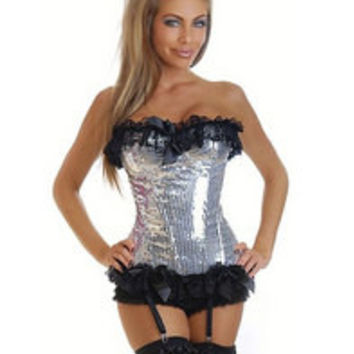 Silver Sequin Burlesque Pin-Up Corset