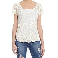 Jessica Simpson Kinley Crochet Lace Top - Natural Lace