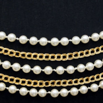 Pearl and gold chain belt, 5-row belt, statement necklace, dual purpose statement piece, women's accessory