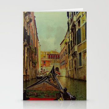 Venice, Italy Canal Gondola View Stationery Cards by Theresa Campbell D'August Art