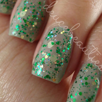 Green Monkeys - Full Size (15ml/.5oz) Glitter Nail Polish