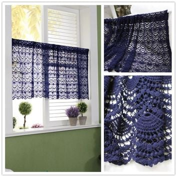 JUYANG. Crochet hollow short curtain. Cupboard door curtain. Pastoral style coffee curtains. Beige and dark blue. 50 cm x 150 cm