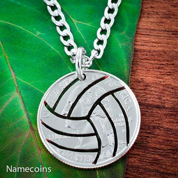 Volleyball Necklace Hand Crafted from a quarter