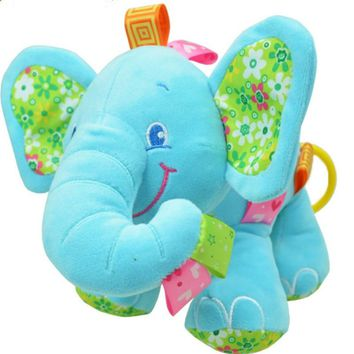 Baby Toys Music Pull Rattles Multifunctional Elephant Kids Bell Ring Paper Car Bed Hanging Strollers Toys pink blue