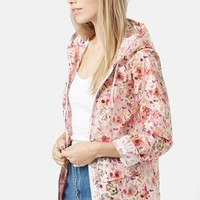 Women's Topshop Floral Hooded Raincoat