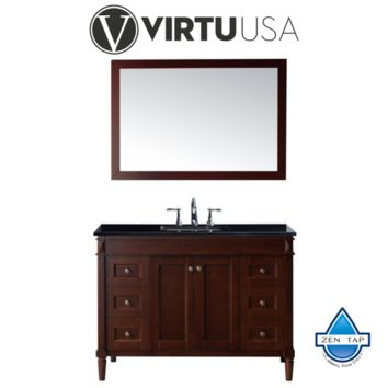 "Tiffany 48"" Single Bathroom Vanity in Cherry with Black Galaxy Granite Top and Square Sink with Mirror"