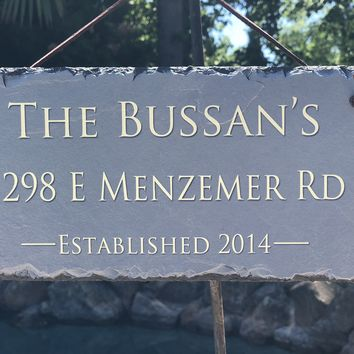Customizable Slate Home Address House Sign - Name, Address, Established Date Handmade and Personalized