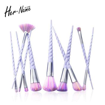 Hername 10Pc unicorn eyebrow eyeshadow foundation makeup brushes Kit brush make up set cosmetics pincel maquiagem de pinceis