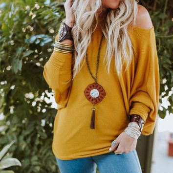 Make It Easy Waffle Knit Top - Mustard