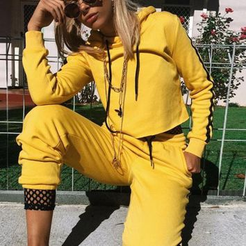 Hooded Drawstring Crop Top with Long Pants Two Pieces Sports Set