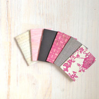 Notebooks: Tiny Journal Set of 6, Pink, Gray, Wedding, Favors, Stocking Stuffer, For Her, For Him, Gift, Unique, Mini Journals, Kids, T053