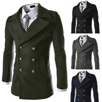 Double Breasted Wool Coat with Gold Buttons