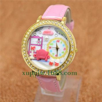 2016 New Arrival Household life Polymer Clay  Watch Girl Lovely Pink Cartoon Watch Kids Crystal Rhinestone Bracelet Hot Sale