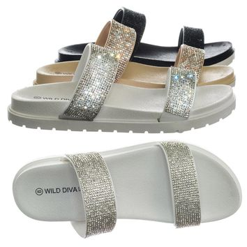 Rio01 Rhinestone Crystal Slip On Slippers w Rubber Molded Footbed w Lug Sole