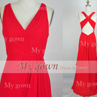 2014 red prom dress,Sexy Backless Red Prom Gown,Dresses ,Wedding Dress,formal dress,evening dress