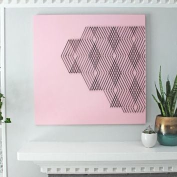 Pink and Black Geometric wall art, Pink wall art, modern wall art, boho wall art, living room wall art, dining room wall art, Geometric art
