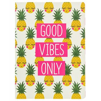 Good Vibes Only Pineapple Faces Soft Cover Journal