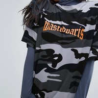 Wasted Paris Oversized Skate T-Shirt With Front Logo In Camo Print at asos.com