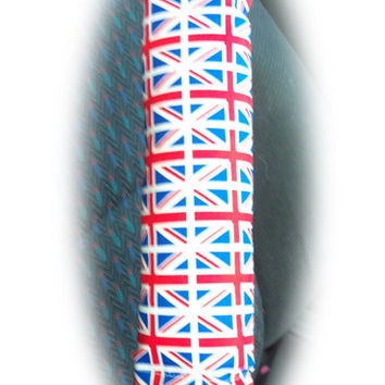 Union Jack Guitar shoulder pad messenger bag strap pad seatbelt pad comfort UK flag London red white blue cotton fabric