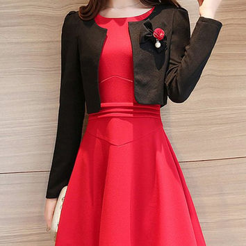 Cropped Coat and Sleeveless A Line Dress Twinset