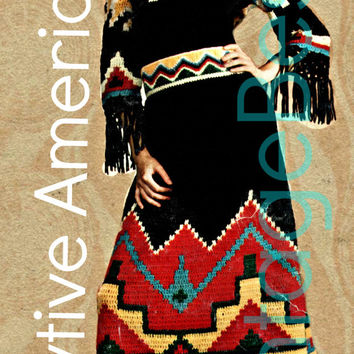Native American Dress 70s Retro 2 Crochet Pattern Instant Download PDF Top Skirt Great for Halloween Costume or Super Cool for Thanksgiving