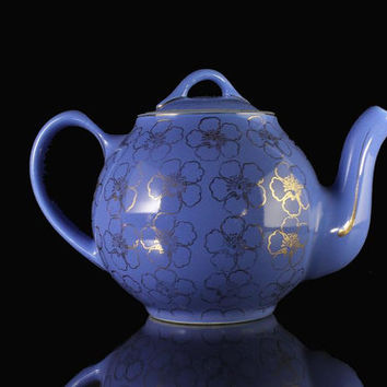 Hall Teapot French Flower Cadet Blue 4 Cup
